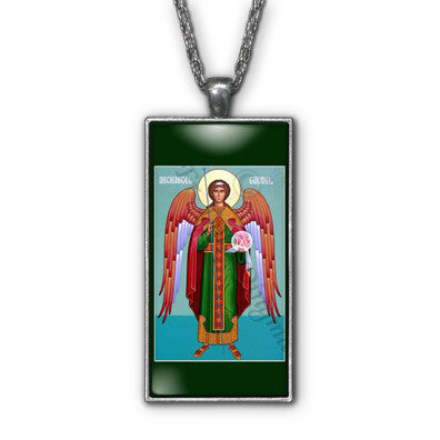 Saint Gabriel Archangel Painting Religious Pendant Necklace Jewelry