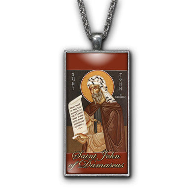 Saint John Damascus Painting Religious Pendant Necklace Jewelry