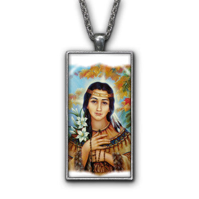 Saint Kateri White Painting Religious Pendant Necklace Jewelry