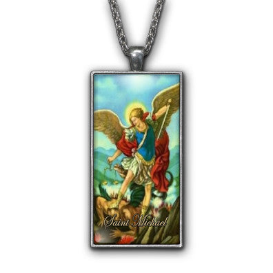Saint Michael Painting Religious Pendant Necklace Jewelry