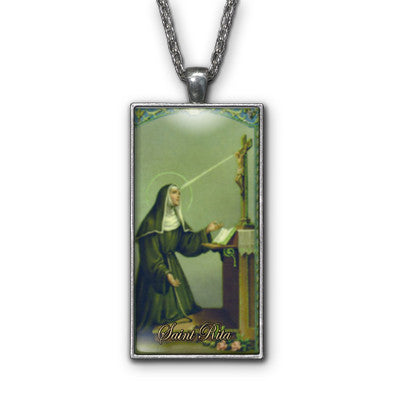 Saint Rita Painting Religious Pendant Necklace Jewelry