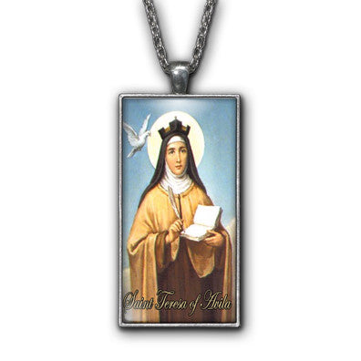 Saint Teresa of Avila Painting Religious Pendant Necklace Jewelry