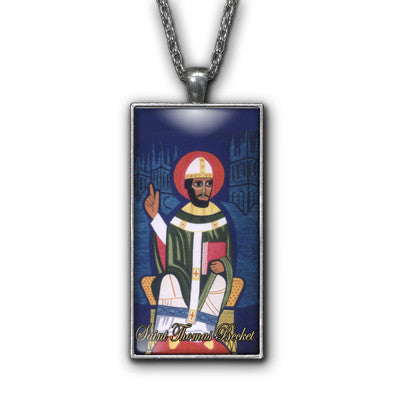 Saint Thomas Becket Painting Religious Pendant Necklace Jewelry
