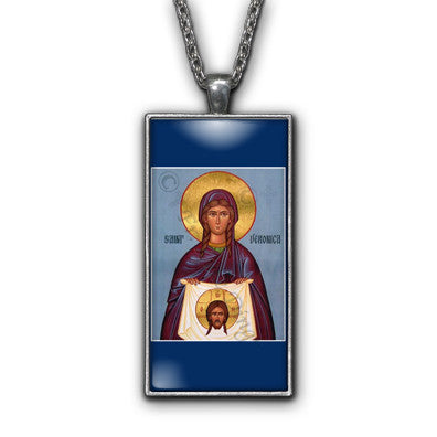 Saint Veronica Painting Religious Pendant Necklace Jewelry