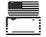 Thin Gray Line Police License Plate Frame Car Tag