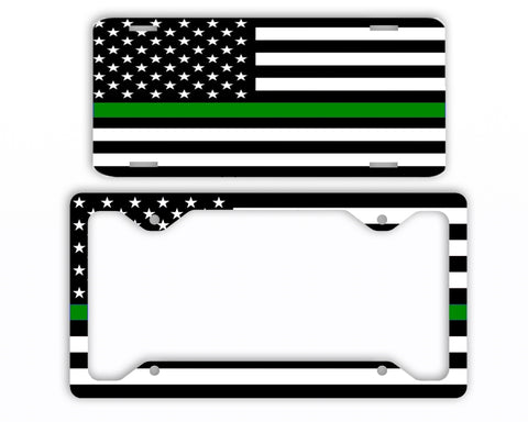 Thin Green Line Armed Forces License Plate Frame Car Tag Border