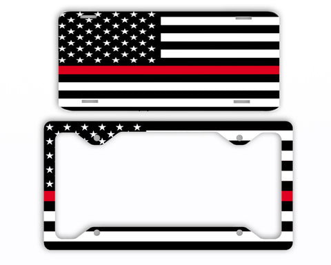 Thin Red Line Firefighter EMS License Plate Frame Car Tag