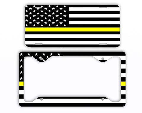 Thin Yellow Line Police License Plate Frame Car Tag