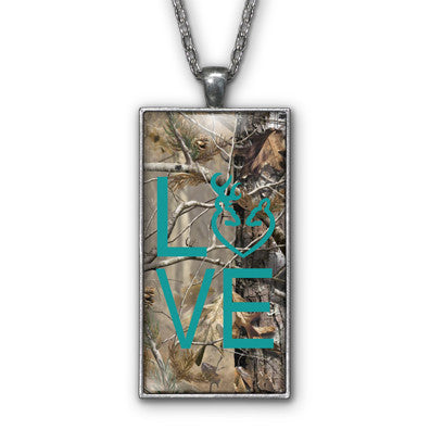Turquoise Camo Love Browning Pendant Necklace Jewelry