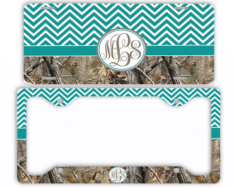 Turquoise Chevron Camo Monogrammed License Plate Frame Car Tag Country Hunting Deer Personalized