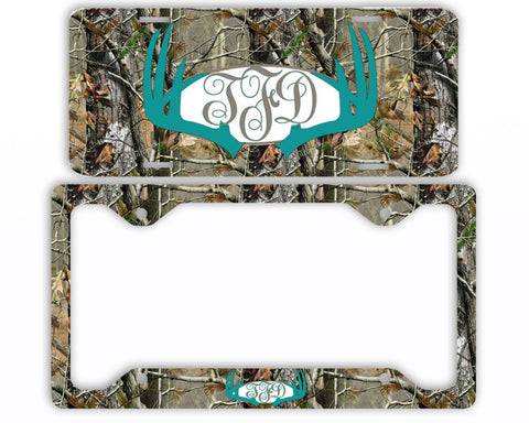 Turquoise Antlers Camo Monogrammed License Plate Frame Car Tag Country Hunting Deer Personalized