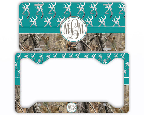 Turquoise Buck Head Camo Monogrammed License Plate Frame Car Tag Country Hunting Deer Personalized