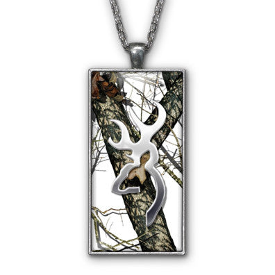 White Snow Camo Browning Buckhead Pendant Necklace Jewelry