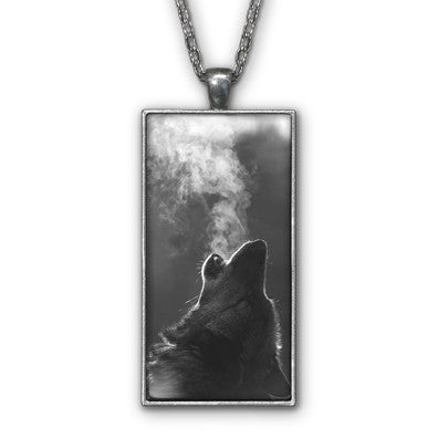 Wolf Howling Photo Pendant Necklace Jewelry