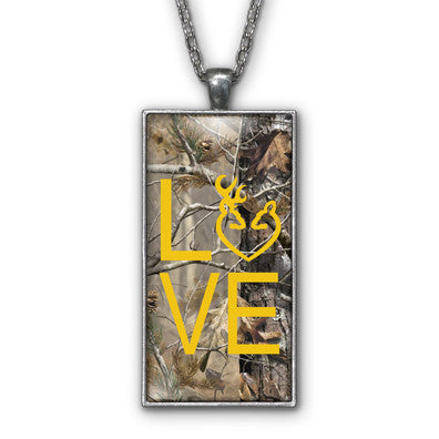 Yellow Camo Love Browning Pendant Necklace Jewelry