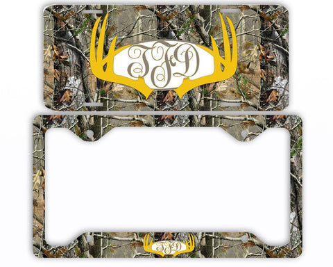 Yellow Antlers Camo Monogrammed License Plate Frame Car Tag Country Hunting Deer Personalized