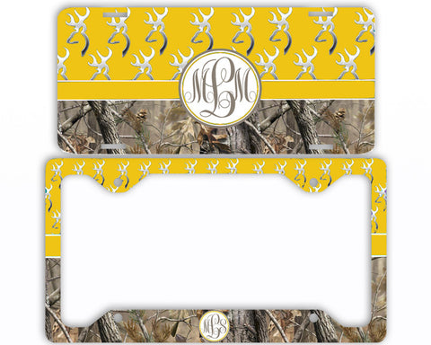 Yellow Buck Head Camo Monogrammed License Plate Frame Car Tag Country Hunting Deer Personalized