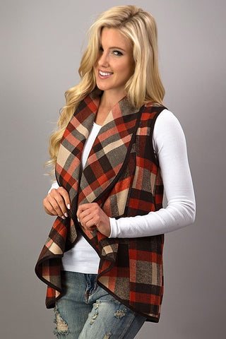 Preppy Plaid Waterfall Vest is a Fall Favorite Already
