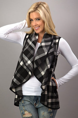 Preppy Plaid Waterfall Vest is the Item for Fall