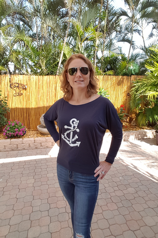 Navy Long Sleeve Dolman Shirt with White Anchor