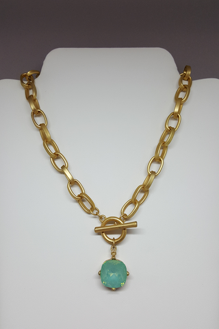 "10"" Gold Chain Link Necklace with Opal Pendant"