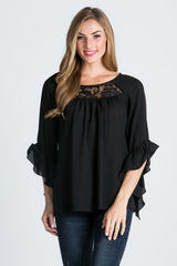 Black Feminine 3/4 Sleeve Top with Lace Panels
