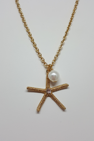 "16"" Gold Starfish Necklace with Pearl Dangle"