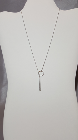 "16"" Silver Necklace with Loop and Bar - Shoppin with Sailin"