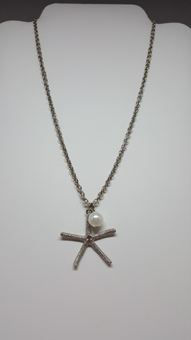 "16"" Silver Starfish Necklace with Pearl Dangle - Shoppin with Sailin"
