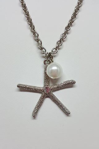 "16"" Silver Starfish Necklace with Pearl Dangle"