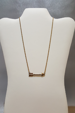 "18"" Burnt Gold Metal Arrow Pendant Necklace"