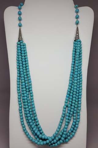 "24"" Turquoise Layered Beaded Necklace - Shoppin with Sailin"