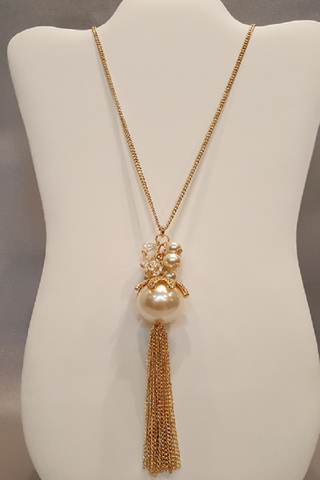 "30"" Pearl Necklace on Gold Chain with Tassels"