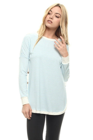 Light Blue Ribbed Striped Top - Shoppin with Sailin