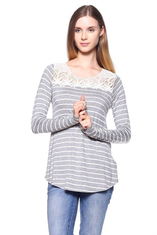 Heather Grey Long Sleeve Striped Tunic with Crochet Accent - Shoppin with Sailin