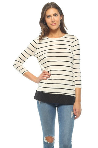 Ivory Striped Tunic with Black Embroidery Accent & Button Back - Shoppin with Sailin