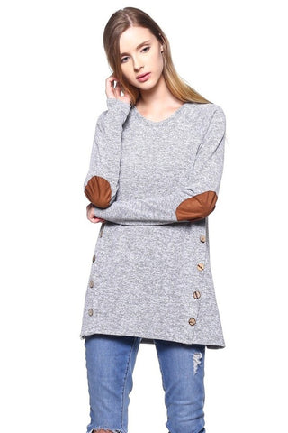Long Sleeve Grey Sweater with Elbow Patches & Buttons