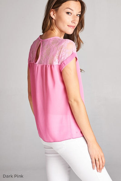 Sheer Pink Blouse with Keyhole Back & Lace - Shoppin with Sailin
