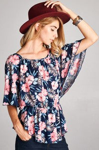 Navy Floral Top with Peplum Waist - Shoppin with Sailin