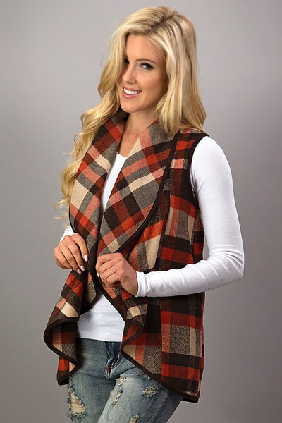 Preppy Plaid Waterfall Vest in Red