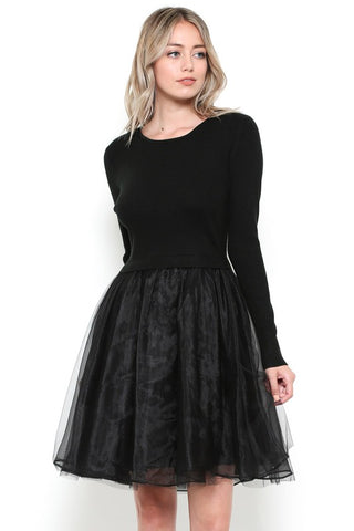 Carrie B's Black Tulle Sweater Dress