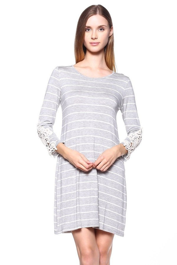Heather Grey Striped Dress with Crochet Sleeve Patches - Shoppin with Sailin