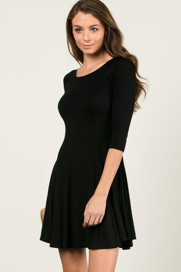 Little Black Dress with 3/4 Sleeves - Shoppin with Sailin