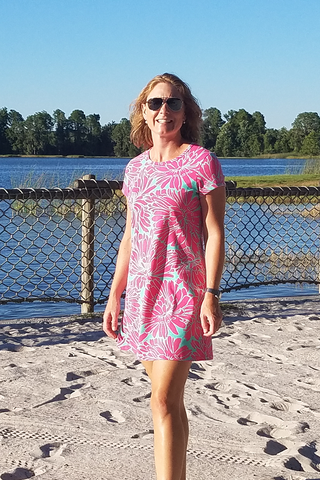 Aqua and Fuchsia Floral Tee Shirt Dress