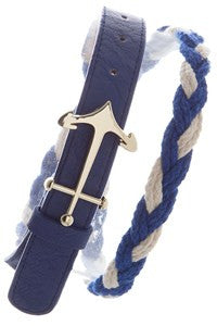 Timeless Royal Blue & White Braided Belt with Anchor Buckle - Shoppin with Sailin