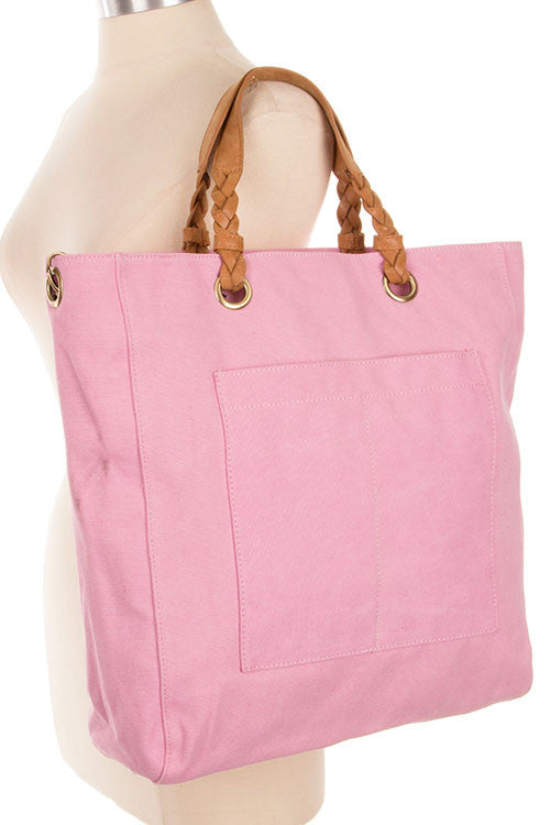Pink Canvas Tote with Braided Strap - Shoppin with Sailin
