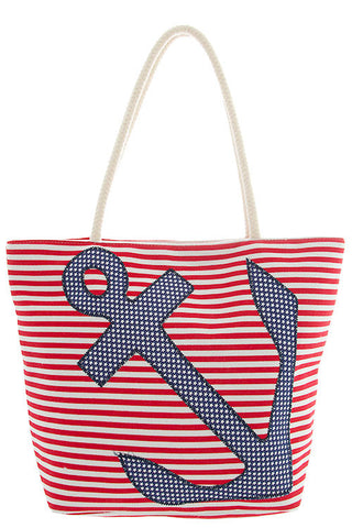 America the Beautiful Anchor Canvas Tote Bag - Shoppin with Sailin