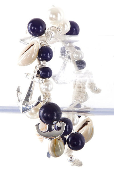 Silver Anchor Charm Bracelet with Navy Beads - Shoppin with Sailin