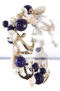 Gold Anchor Charm Bracelet with Navy Beads