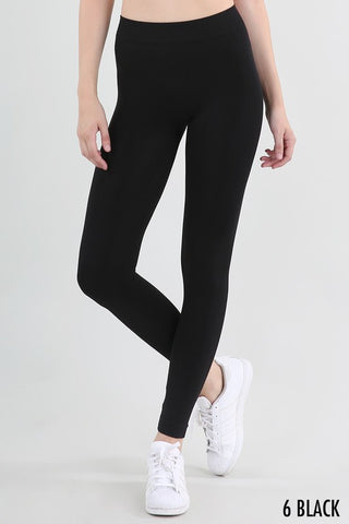 "Basic Black Ankle Leggings 2"" Waistband"